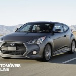 2013 Hyundai Veloster Turbo Driving view tres quartos frente