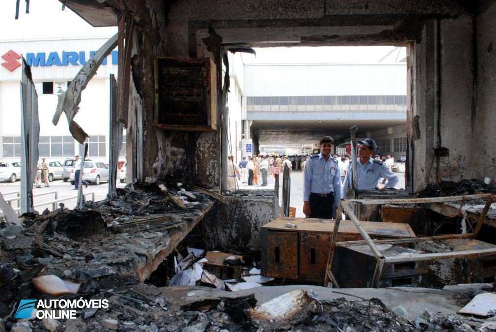 Burned portion of the Maruti Suzuki manufacturing plant is pictured at Manesar, on the outskirts of New Delhi, India