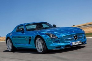 new MercedesBenz SLS AMG Electric 2013 front view
