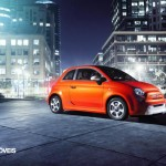 First images Fiat 500e profile right view 2013