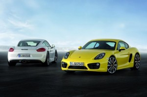New Porsche Cayman 2013 front and rear view
