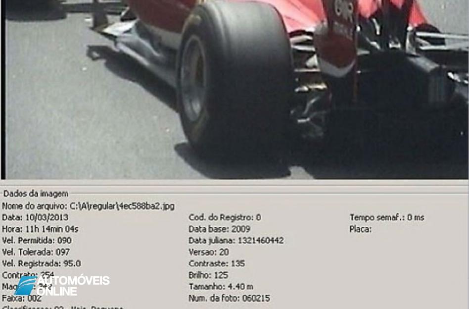Radar apanha Filipe Massa num Fórmula 1 nas estradas da cidade Rio de Janeiro