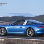 new Porsche 911 Targa 2015 rear left profile bleu view