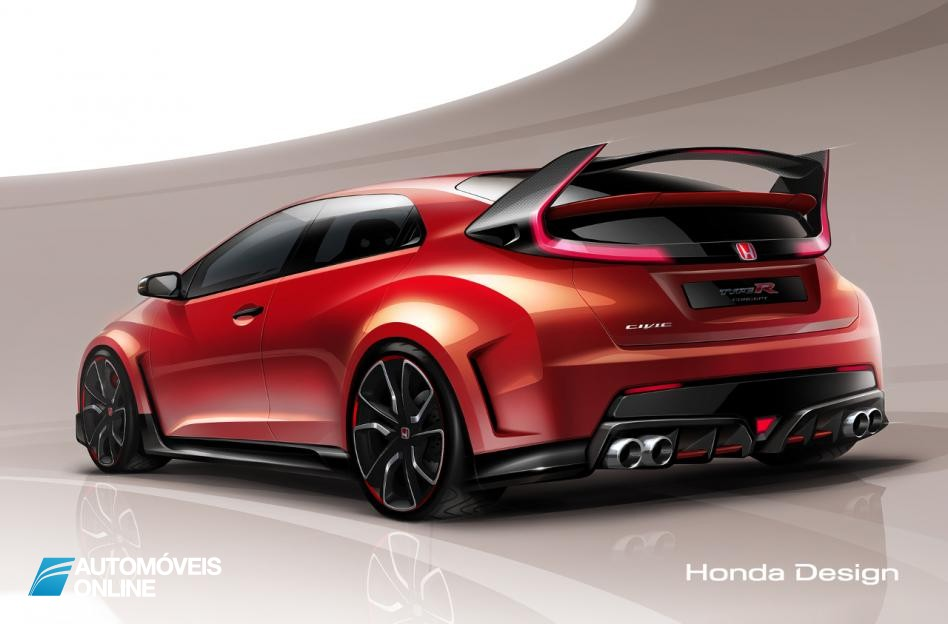 Honda Civic Type R left rear quarter view Genebra Salon 2014