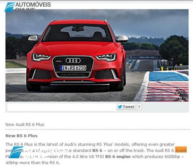 UPS! Revelado sem querer o Novo Audi RS6 Avant Plus
