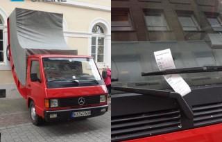 Escultura de carro multada pela polícia